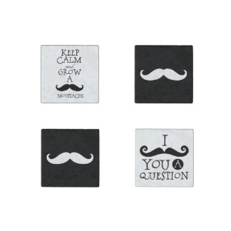 Retro Hipster Black and White Mustaches Stone Magnet