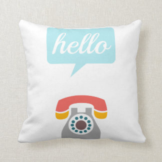 Retro Hipster Colorful Old Fashioned Phone Throw Pillow