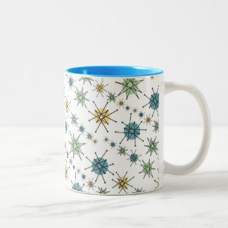 Retro Hipster Geometric Atomic Starburst 11oz Two-Tone Coffee Mug