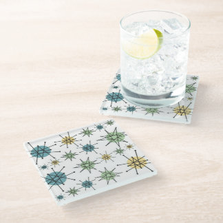 Retro Hipster Geometric Atomic Starburst Glass Coaster