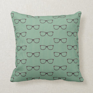 Retro Hipster Horn Rim Glasses On Aqua Throw Pillow