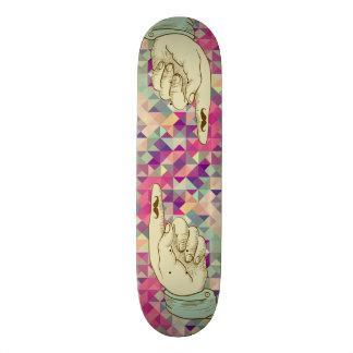 Retro hipster pointing hand skateboard