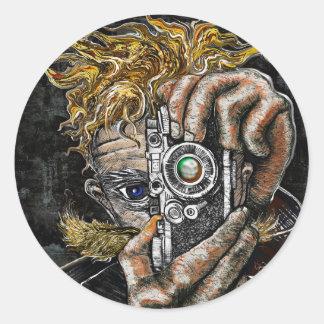 Retro Hipster Selfie Classic Round Sticker