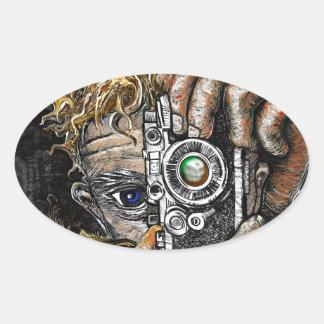 Retro Hipster Selfie Oval Sticker