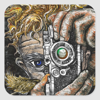 Retro Hipster Selfie Square Sticker