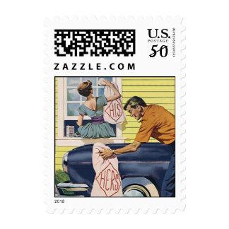 Retro His Hers Stamp vintage car home Housewarming