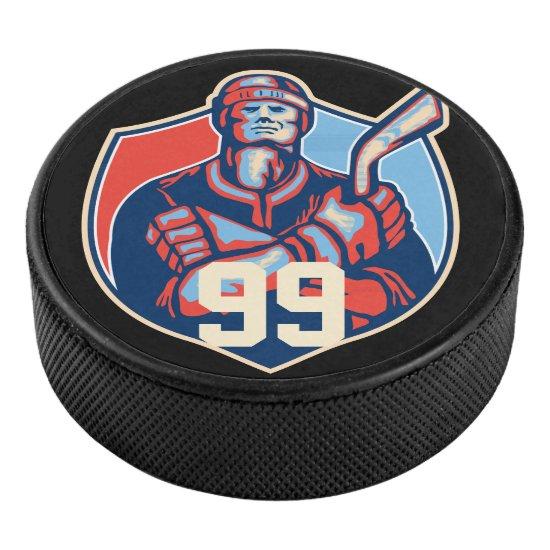 Retro Hockey Player, Personalized Hockey Puck