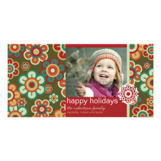 Retro Holiday Blooms Family Greeting Photo Card Customized Photo Card