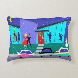 Retro Holiday Cartoon Accent Pillow