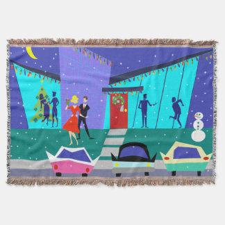 Retro Holiday Cartoon Christmas Throw Blanket