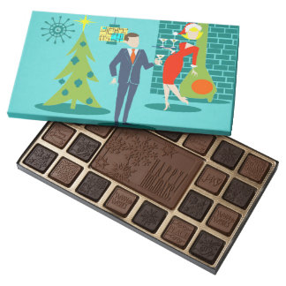 Retro Holiday Cartoon Couple Box of Chocolates 45 Piece Box Of Chocolates