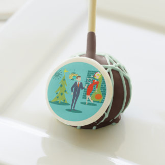 Retro Holiday Cartoon Couple Cake Pops
