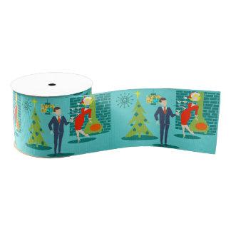 Retro Holiday Cartoon Couple Christmas Ribbon
