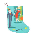 Retro Holiday Cartoon Couple Christmas Stocking