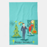 Retro Holiday Cartoon Couple Kitchen Towel