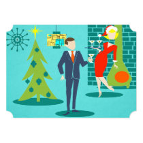 Retro Holiday Cartoon Couple Party Invitations