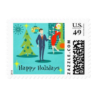 Retro Holiday Cartoon Couple Postage Stamps