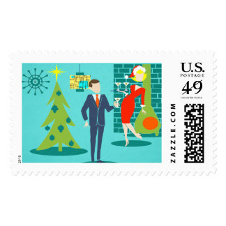 Retro Holiday Cartoon Couple Postage Stamps