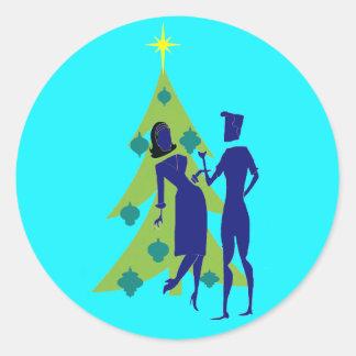 Retro Holiday Cartoon Couple Stickers