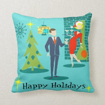 Christmas Themed Retro Holiday Cartoon Couple Throw Pillow