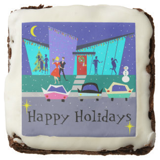 Retro Holiday Cartoon Party Brownies Square Brownie
