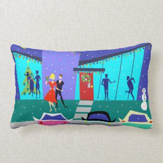 Retro Holiday Cartoon Party Lumbar Pillow