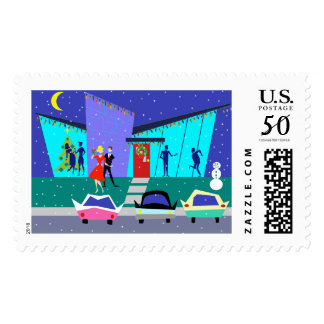 Retro Holiday Cartoon Party Postage Stamps