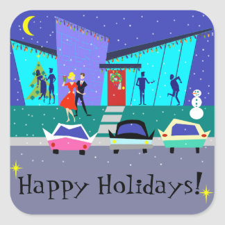 Retro Holiday Cartoon Party Stickers