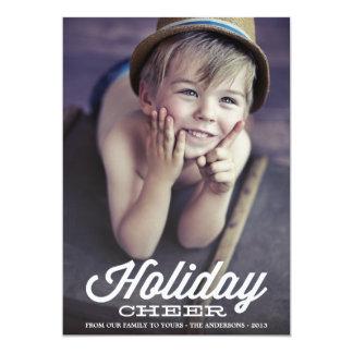 """RETRO HOLIDAY CHEER   HOLIDAY PHOTO CARD 5"""" X 7"""" INVITATION CARD"""