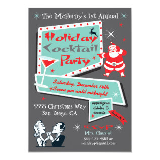 Retro Holiday Christmas party Invitations at Zazzle