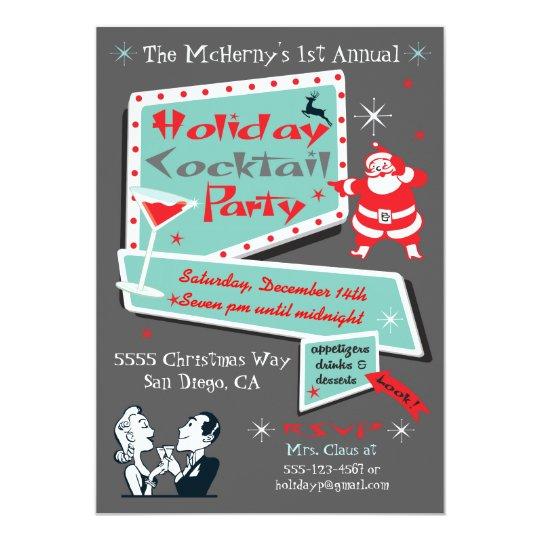 retro holiday christmas party invitations zazzle com
