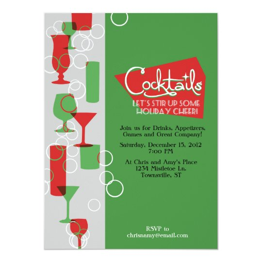 Retro Holiday Cocktail Party Invitations