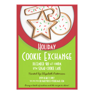 Retro Holiday Cookie Exchange in Red and Green Custom Invitation