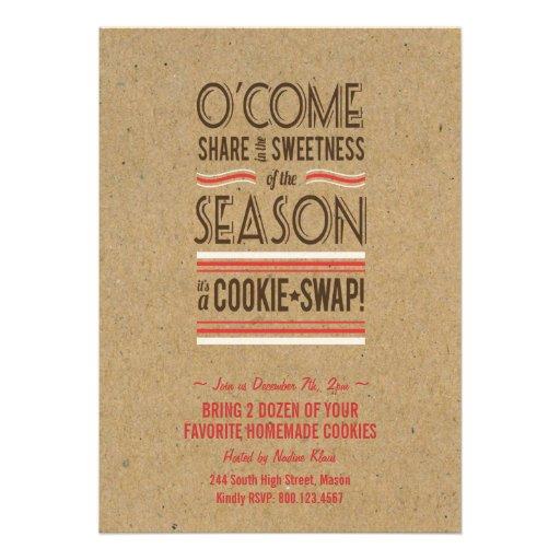 Retro Holiday Cookie Swap Exchange Invitation
