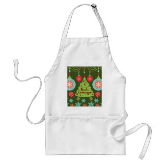 Retro Holiday Merry Christmas Tree Snowflakes Adult Apron
