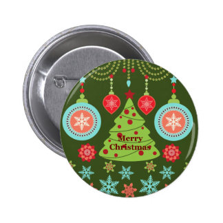 Retro Holiday Merry Christmas Tree Snowflakes Buttons