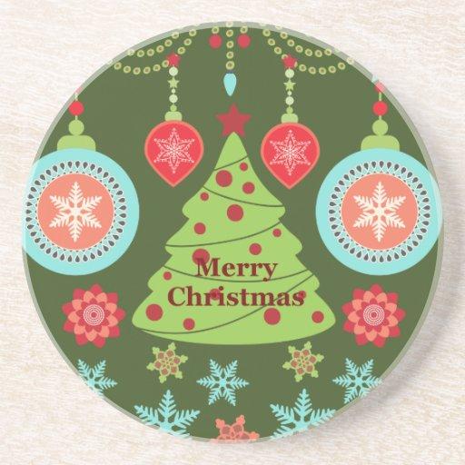 Retro Holiday Merry Christmas Tree Snowflakes Coaster