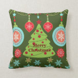 Retro Holiday Merry Christmas Tree Snowflakes Pillows