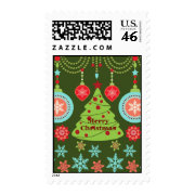 Retro Holiday Merry Christmas Tree Snowflakes Postage