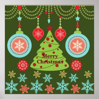 Retro Holiday Merry Christmas Tree Snowflakes Posters