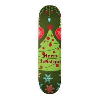 Retro Holiday Merry Christmas Tree Snowflakes Skate Board