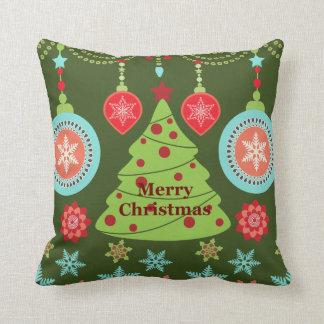 Retro Holiday Merry Christmas Tree Snowflakes Throw Pillow