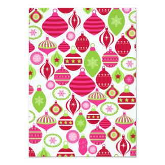 Retro Holiday Ornaments Christmas Pattern Card