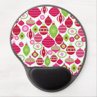 Retro Holiday Ornaments Christmas Pattern Gel Mouse Mat