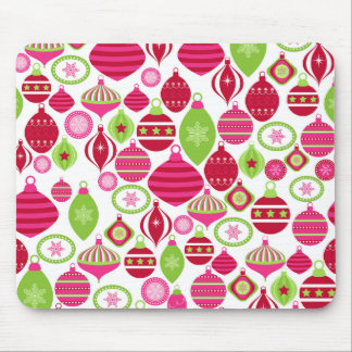 Retro Holiday Ornaments Christmas Pattern Mouse Pad