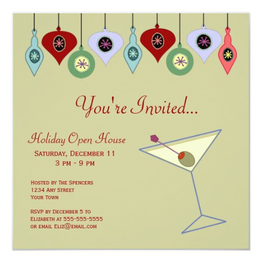 """Retro Holiday Party Invitation 5.25"""" Square Invitation Card"""
