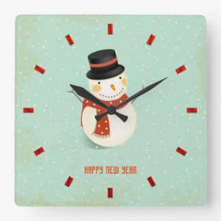 Retro Holiday Snowman Square Wall Clock