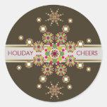 Retro Holiday Stars Custom Gift Label Sticker