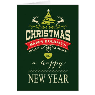 Retro Holly Jolly Christmas Typography | green Greeting Card