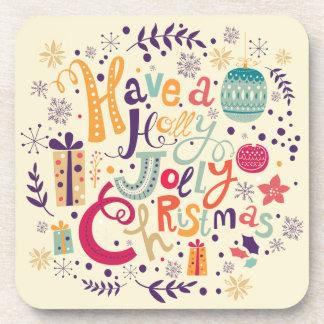 Retro Holly Jolly Christmas Wreath Beverage Coaster